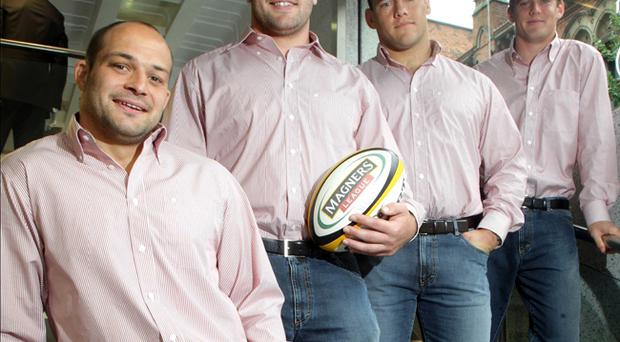 Ulster players try out the new collection in Douglas. Rory Best, Bryan Young, Brendon Botha and Niall O'Connor celebrate the renewal of Douglas' sponsorship as official clothiers of the Ulster Rugby team