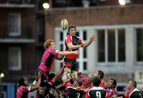 Ulsters' Ryan Caldwell and Paul Tito of Cardiff jump to it during the Magners League clash on Friday night