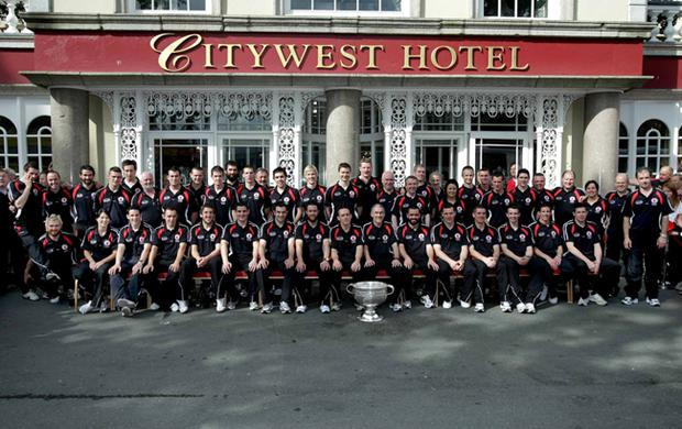 The Tyrone squad pose for a photograph before leaving the team hotel in Dublin