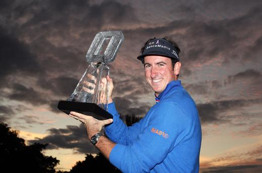 Gonzalo Fernandez Castano of Spain with the winners trophy after the final round the Quinn Insurance British Masters at the Belfry on September 28, 2008