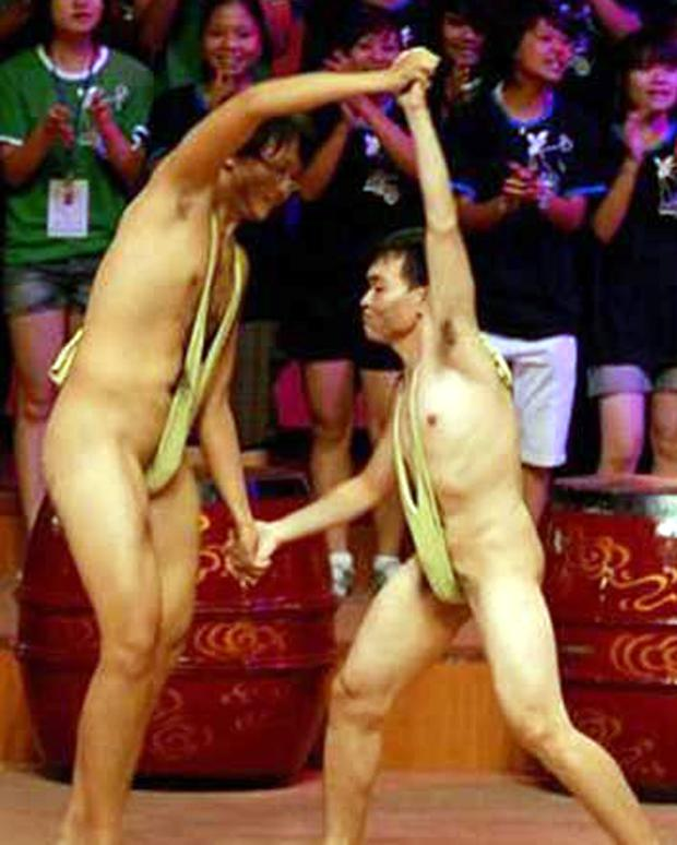 The Borat-inspired mankini wrestling bout