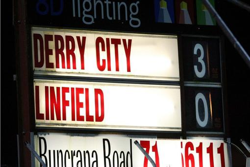 Derry City beat Linfield 3-0 at the Brandywell last night
