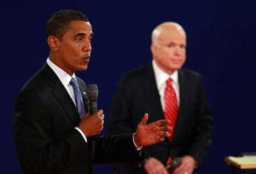 Barack Obama speaks during the Presidential Debate with John McCain in Nashville, Tennessee last night