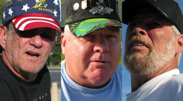 From l-r, Vietnam veteran Frank Merxbauer, 64, who intends to vote for Barack Obama; US veteran Ed Sullivan, 63, who will vote Democrat in the presidential election; and Dave Prouhef, 61, is still undecided as to how he will vote on 4 November
