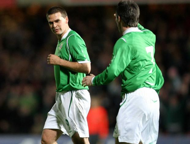 David Healy is congratulated by Keith Gillespie after his goal against San Marino last night