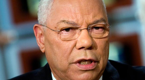 Former Secretary of State Colin Powell speaks during a taping of 'Meet the Press'