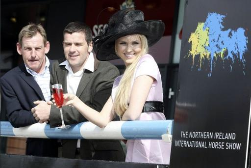 Tim Stockdale, Conor Swail and Zoe Salmon support the launch of The Northern Ireland International Horse Show