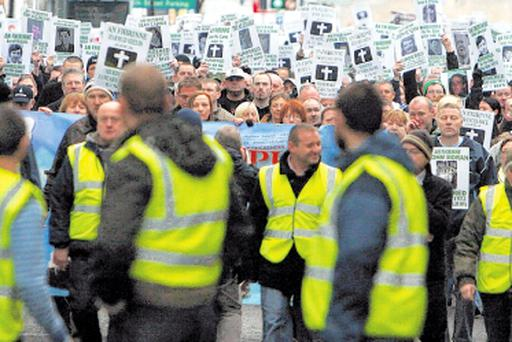 Stewards marshalling the Sinn Fein-organised counter-demonstration on Sunday