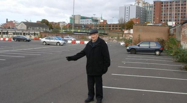Sandy Row man Billy McBride stands at the spot on the Linfield Road where underground rail shelters are believed to be located