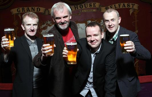 On tour... Jake O'Kane, Tim McGarry, Neil Delamere, and Colin Murphy.