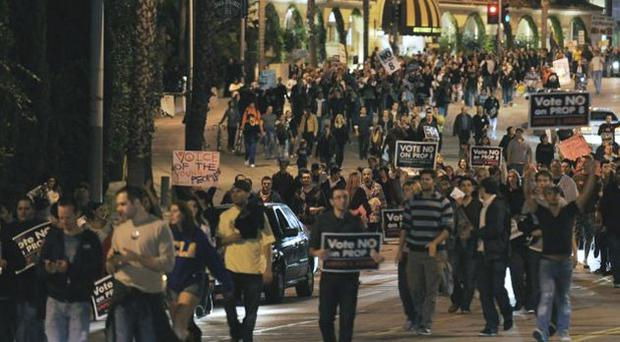 Protesters march on the Sunset Strip in West Hollywood after California voted to overturn laws allowing same-sex unions, throwing the legal status of 18,000 gay marriages into doubt