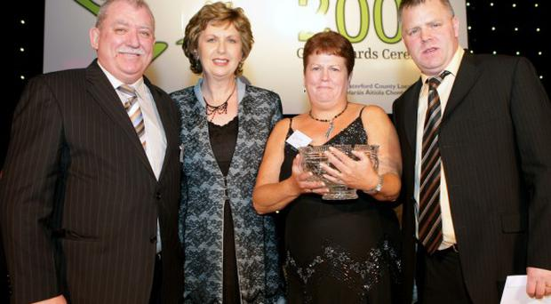 2008 Pride of Place Gala Awards Ceremony held in Cappoquin Community Centre, Waterford. Winners Awards, Cities Category 3. President Mary McAleese with Gerard Rice, Lucy Rice and Cllr; Pat McCarthy, Lower Ormeau Residents' Action Group, Belfast City. Winners...Photo Sean Byrne....