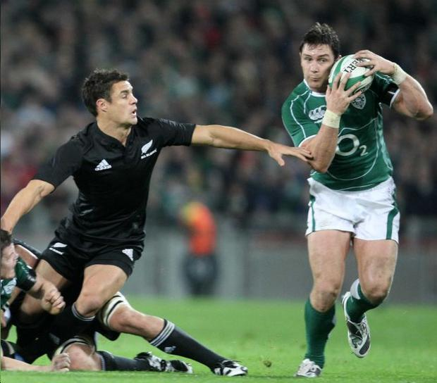 David Wallace (right) in action against the All Blacks