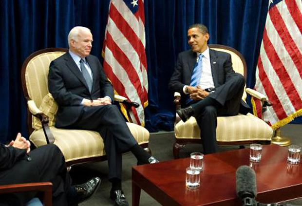 ohn McCain and Barack Obama in Chicago yesterday. Mr McCain may yet prove a crucial ally of Mr Obama