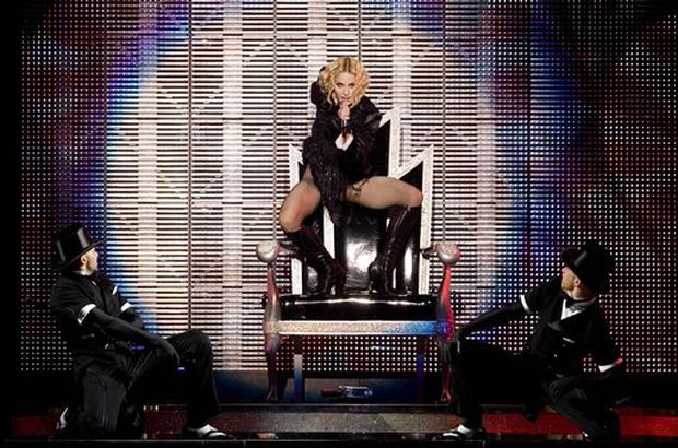U.S. singer Madonna performs during her 'Sticky and Sweet' tour at Foro Sol in Mexico City, Saturday, Nov. 29, 2008. (AP Photo/Eduardo Verdugo)