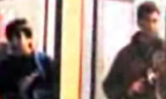 Two of the attackers caught on CCTV in this image taken from Indian TV