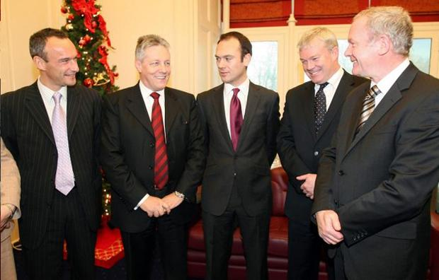 At a summit last week between politicians and local bank leaders are (from left) Bank of Ireland chief executive Stephen Kirkpatrick, First Minister Peter Robinson, Northern Bank chief executive Gerry Mallon, Ulster Bank chief executive Cormac McCarthy and deputy First Minister Martin McGuinness at Stormont Castle. They met to discuss the economic downturn