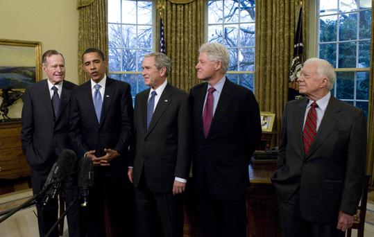 The first gathering of all living presidents at the White House since 1981 took place as George Bush Snr, President-elect Barack Obama, George W Bush, Bill Clinton and Jimmy Carter came together for lunch