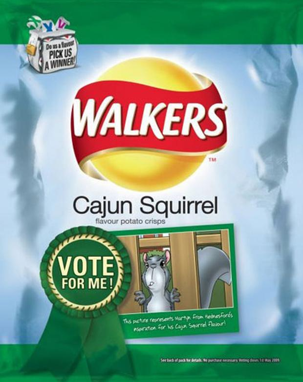 Cajun squirrel - one of the six flavours of Walker's crisps featured in the new competition