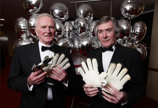 Harry Gregg, who picked up the Hall of Fame Award with fellow legendary goalkeeper Pat Jennings last night
