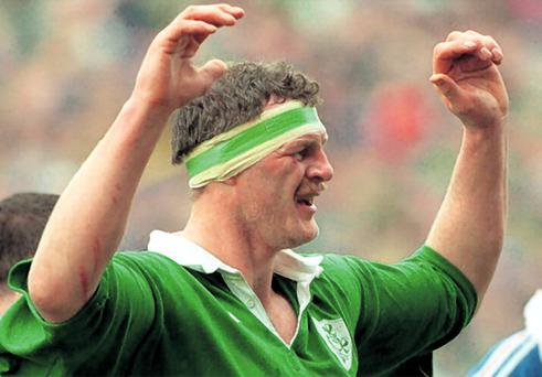 David Tweed playing rugby for Ireland in 1995