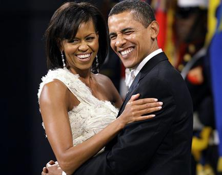 President Barack Obama and first lady Michelle Obama dance together at the Obama Home States Inaugural Ball in Washington, Tuesday, Jan. 20, 2009.