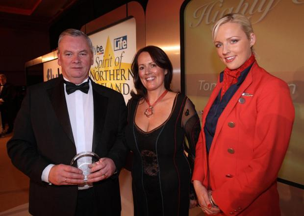 Aurora PA/Spirit of NI - Pictured Spirit of NI Highly commended award winner Tommy Wilson, Andrea Hayes (General Manager Market Development for Flybe), Laura McKelvey Flybe flight attendant.....Flybe & Sunday Life joined forces with UTV in September 2008 to launch a search for Northern Ireland's unsung heroes. They were looking for extraordinary people that do extraordinary things. Readers could nominate the person they believed show Northern Ireland's spirit of compassion, neighborliness, charity, enterprise, courage and devotion. Each week four people were nominated in the Sunday Life and one lucky person winning that weeks heat by phone-in and going through to the final. A second round of phone-in heats gave us 10 Highly Commended people, with another 10 finalists leading to one lucky winner. The lucky winner will be given the keys to a new Peugeot 107 to recognize the contribution they have given to others. The awards are to recognize those who have not been officially acclaimed for their good deeds in helping others - people who's uplifting stories of selfless acts that captures the Spirit of Northern Ireland 2008.....Picture date Tuesday 20th of January 2009, by Paul Moane/AuroraPA. Pictures taken in the Ramada Hotel, Shaw's Bridge, Belfast.