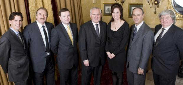 Giving food for thought were (from left) Gregory Tosko, CBRE, New York, Mike Smith, economist, University of Ulster, Michael Gibbons, director of BNP Paribus, former Taoiseach Bertie Ahern TD, Debbie Rennick, ACT Venture Capital, Professor Richard Peiser, Harvard University and Hungarian journalist Zoltan Farkas