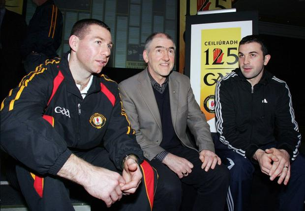 Ulster GAA's Diarmuid Marsden, Tyrone manager Mickey Harte and Tyrone's Ryan Mellon at the launch of the Ulster Council's GAA 125th Anniversary celebrations at the Europa Hotel in Belfast