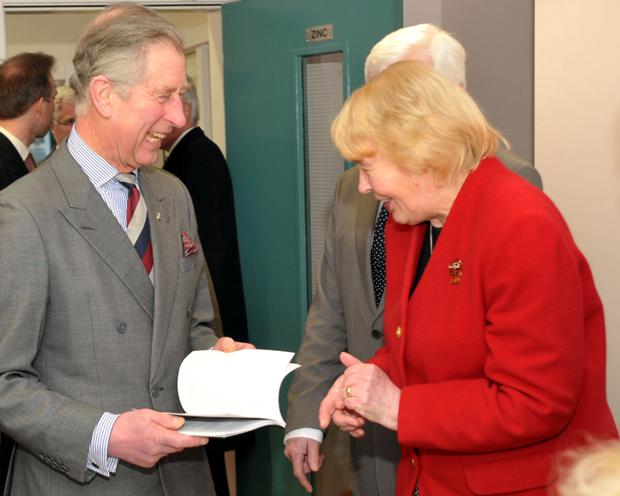 The Prince of Wales meets Lindy Reid Secretary of the Ballyclare Historical Society during his visit to Ballyclare