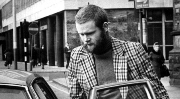 Martin McGuinness, Sinn Fein, pictured leaving court in Belfast after charges against him involving IRA membership were dropped 1976.