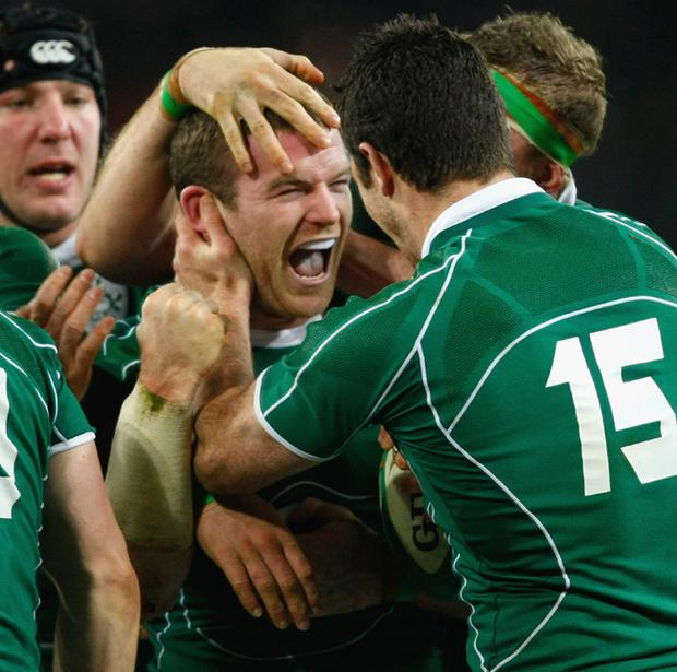 Gordon D'Arcy of Ireland is congratulated by his team mates after scoring a try during the RBS 6 Nations Championship match between Ireland and France at Croke Park