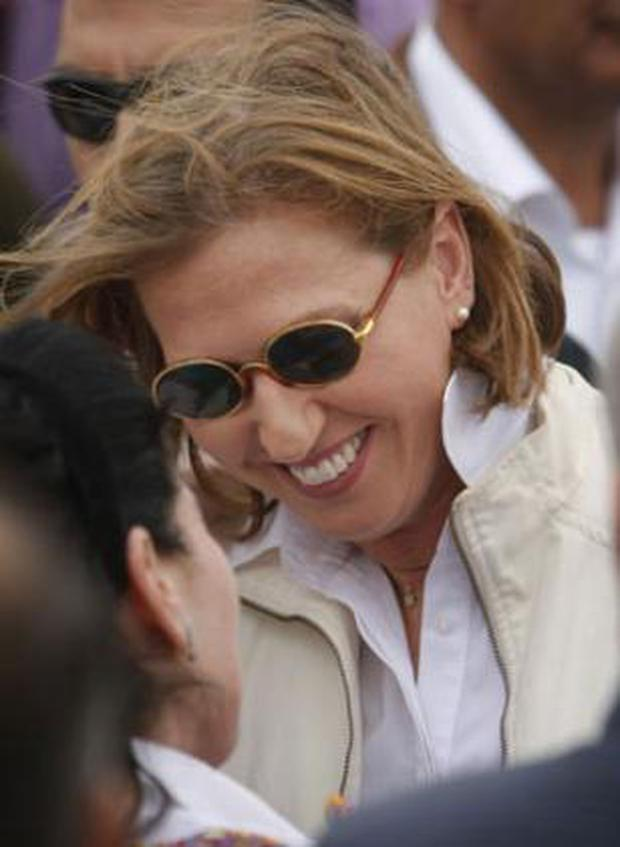 Tzipi Livni: The Kadima candidate talks to supporters at a rally