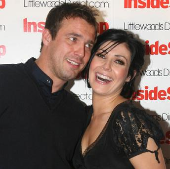 Coronatiuon Street's Kym Marsh and Hollyoaks' Jamie Lomas arrive for the Inside Soap Awards Launch Party at the John Street Hotel on July 14, 2008 in Manchester