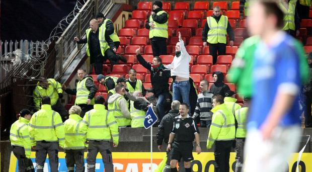 Crowd trouble marred the Linfield v Glentoran Belfast derby on Boxing Day last year