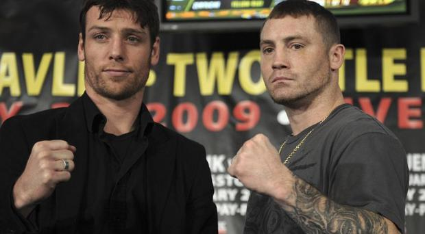 Middleweight contenders John Duddy, left, and Matt Vanda attend a news conference ahead of their boxing match tomorrow night at Madison Square Garden, New York