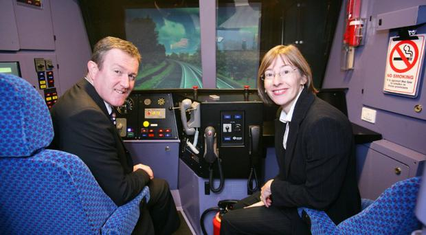 Conor Murphy and Catherine Mason test the equipment at the new training academy