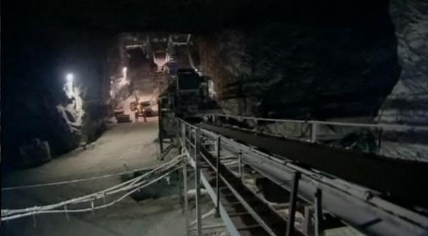 The salt mines on the Co Antrim coast which are used for road salting operations across the province every winter. The salt deposits in the same area could be used to store wind power. Picture courtesy of BBC