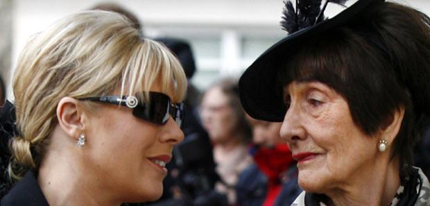 Letitia Dean (Left) and June Brown arrive for the funeral of Wendy Richard at St Marylebone Parish Church