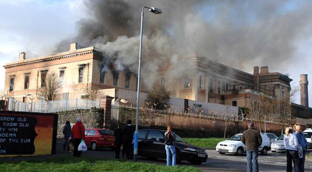 Fire at the Crumlin Road courthouse in north Belfast