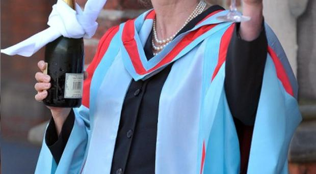 Cheers: Joanna received an honorary doctorate at Belfast's Queen's University