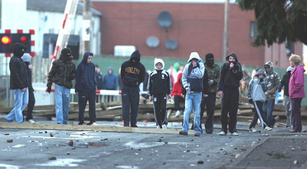 PSNI Officers came under attack from stonethrowers in Lurgan on Saturday afternoon March 14 2009