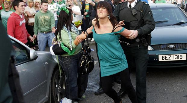 Scenes from Belfast's Holyland area during disturbances on St. Patricks day.