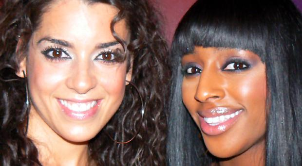 Party people: Ruth Lorenzo and Alexandra Burke at Cafe Vaudeville