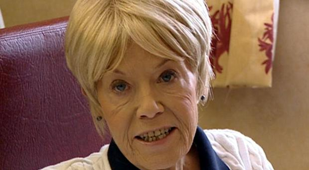 Wendy Richard in a frame from a fly-on-the-wall-documentary about her final days as she battles cancer