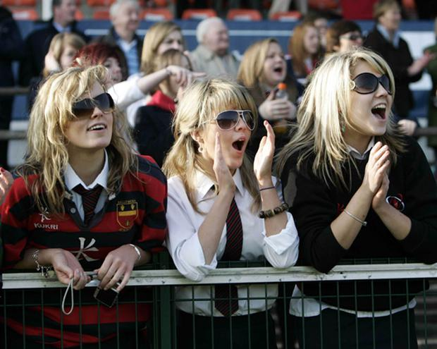 Ballymena fans enjoy the match and the good weather. Northern Bank Subsidiary Shield Final, Ballymena Academy v Coleraine Academical Institution at Ravenhill, Belfast