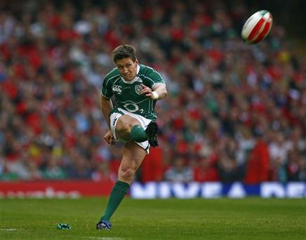 Ireland's Ronan O'Gara kicks points during the Six Nations rugby union international match against Wales at the Millenium Stadium, Cardiff, Saturday March 21, 2009. (AP Photo/Tom Hevezi)