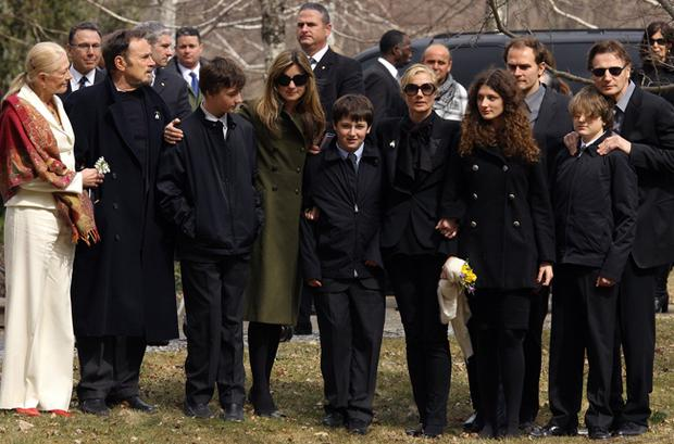 Family and friends of Natasha Richardson gather for a photo prior to the funeral of Richardson in front of St. Peter's Episcopal Church in Lithgow, N.Y. on Sunday, March 22, 2009. At left is Vanessa Redgrave, Richardson's mother, and right is Liam Neeson, Richardson's husband.