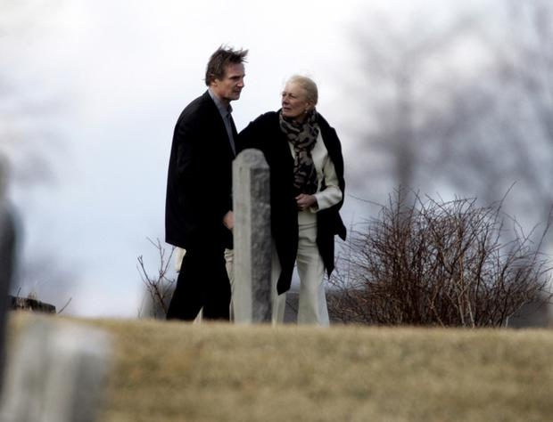 Liam Neeson and his mother-in-law Vanessa Redgrave walk through St. Peter's Cemetery in Lithgow, N.Y. on Sunday, March 22, 2009 after a funeral for his wife and her daughter, Natasha Richardson.