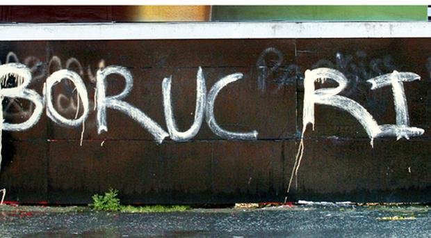 Death threats against the Poland and Celtic goalkeeper Artur Boruc have appeared in graffiti overnight in Belfast's loyalist Sandy Row area 26/3/2009.